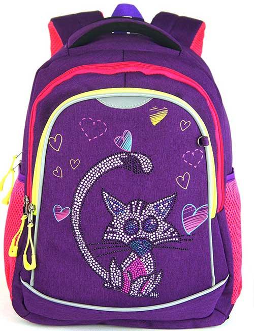 Рюкзак 8211 школьный фиолетовый для девочки на 1-4 класс с енотом