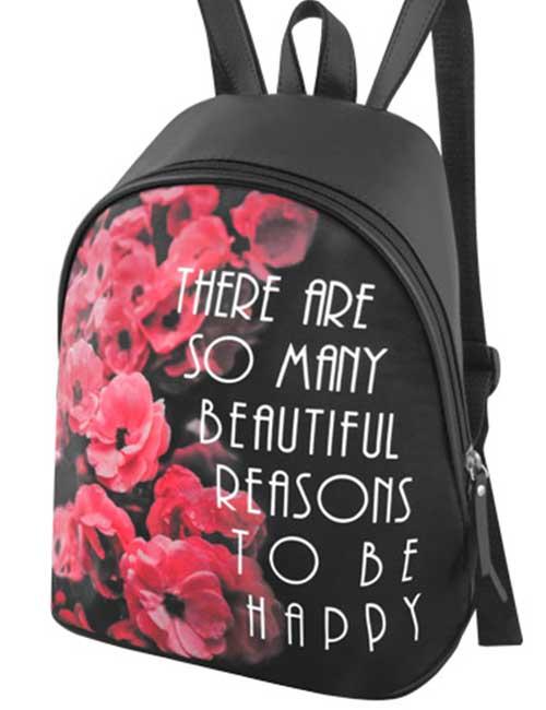 Рюкзак 2035-15 женский черный с цветами