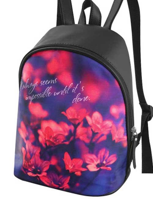 Рюкзак 2035-16 женский черный с цветами