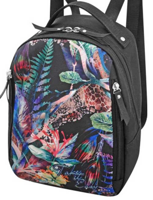 Рюкзак 2804-001 женский из ткани с растительным принтом