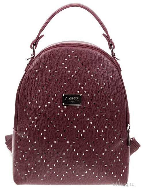 Сумка-рюкзак женская 1388-004-4 экокожа с заклепками бордовая