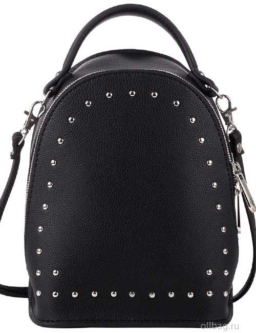 Сумка-рюкзак женская V133-004-1-1 экокожа с заклепками черная
