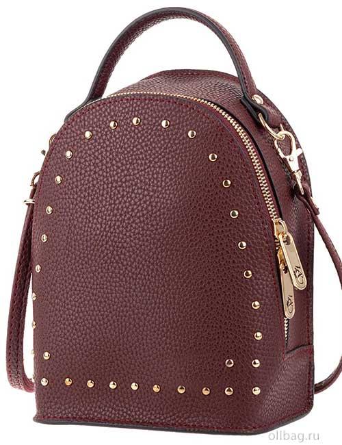 Сумка-рюкзак женская V133-004-1-4 экокожа с заклепками бордовая
