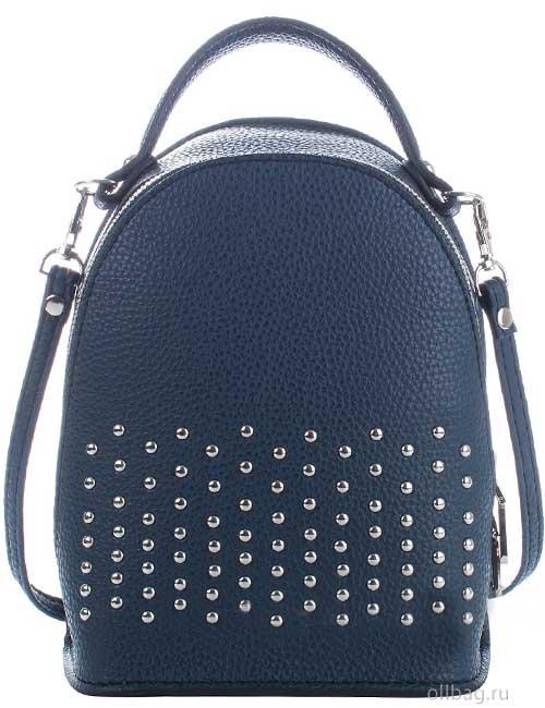 Сумка-рюкзак женская V133-004-2-3 экокожа с заклепками темно-синяя