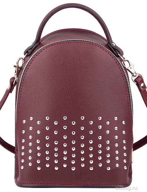Сумка-рюкзак женская V133-004-2-4 экокожа с заклепками бордовая