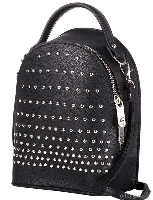 Сумка-рюкзак женская V133-004-3-1 экокожа с заклепками черная