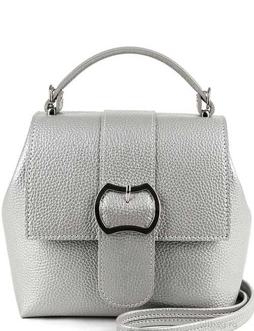Сумка-рюкзак женская V139-001-20 экокожа гладкая серебристая