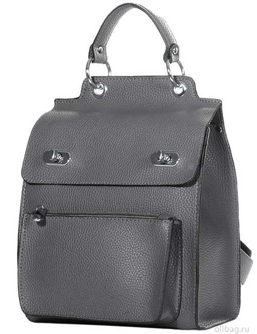 Женский рюкзак V120-001-2 серый гладкий