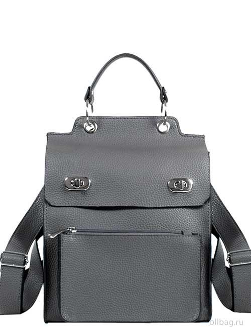 Женский рюкзак V120-001-2 серый гладкий спереди