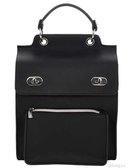 Женский рюкзак V120-001-3 черный гладкий спереди