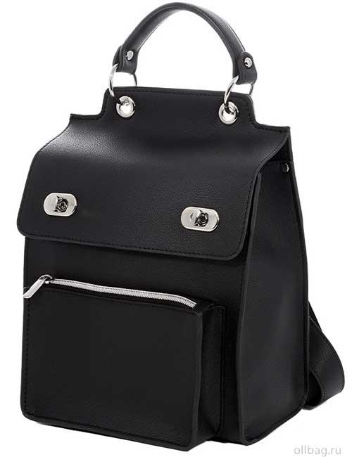 Женский рюкзак V120-001-3 черный гладкий