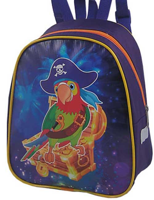 Рюкзак 888-34 детский для мальчика темно-синий с попугаем