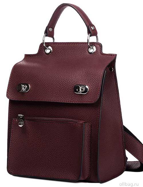 Женский рюкзак V120-001-1 бордовый гладкий