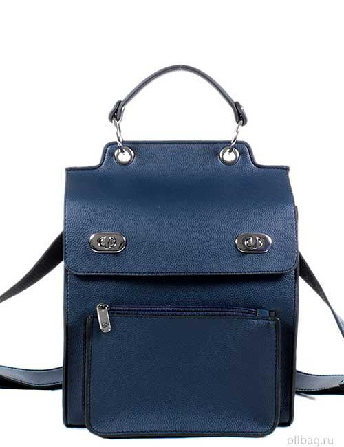 Женский рюкзак V120-001-4 темно-синий гладкий спереди