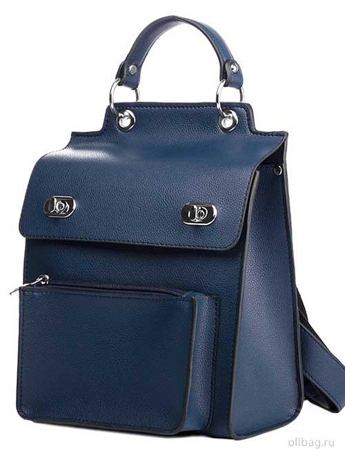Женский рюкзак V120-001-4 темно-синий гладкий