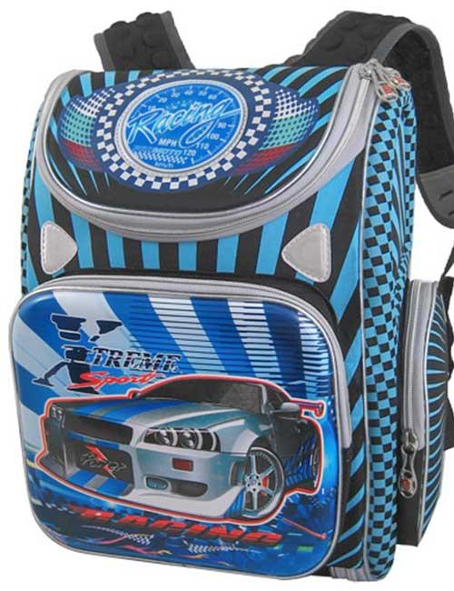 Ранец 1801-1 школьный черно-голубой с машиной для мальчика на 1-4 класс