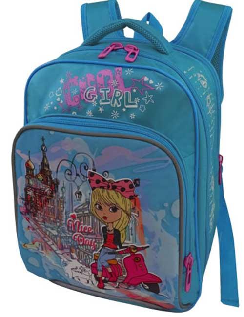Рюкзак школьный 1479-3 голубой с девочкой на скутере