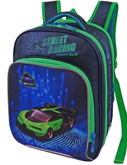 Рюкзак школьный 1479-6 темно-синий с машиной