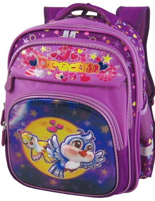 Рюкзак школьный 311432-2 фиолетовый с птичками