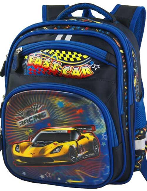 Рюкзак школьный 311453-1 темно-синий с машиной