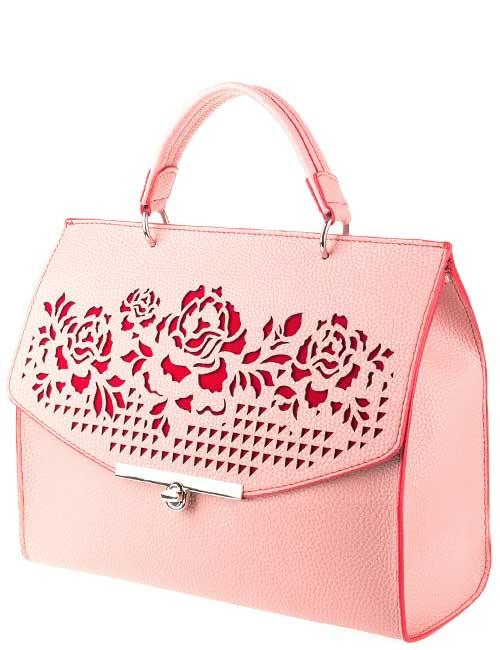 Сумка женская V105-002-9 розовая экокожа с цветами