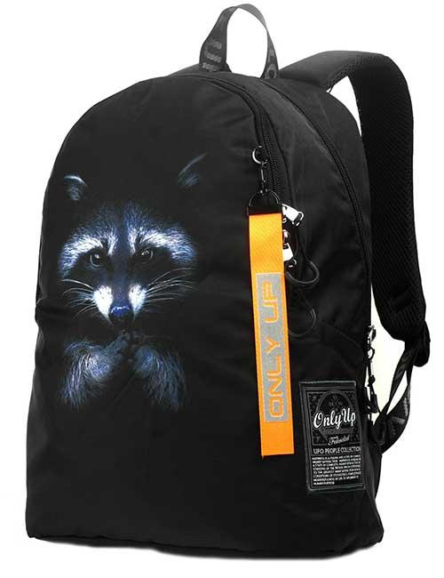 Рюкзак 2090006 Printbag черный с енотом