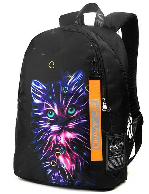 Рюкзак 2090042 Printbag черный с огненным котиком