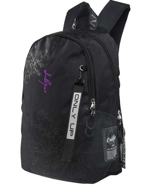 Рюкзак 20941 женский черный с цветочным принтом и надписью only up
