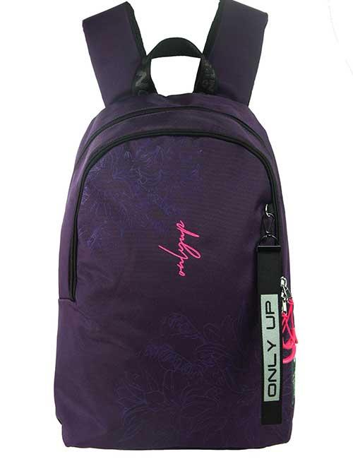 Рюкзак 20943 женский темно-фиолетовый с цветочным принтом и надписью only up