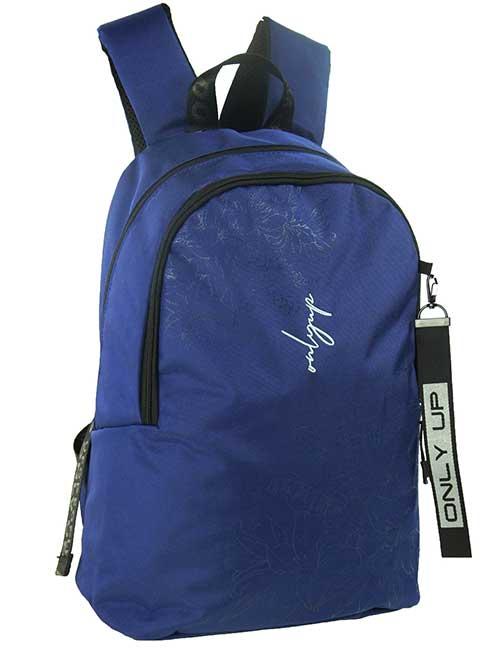 Рюкзак 20944 женский темно-синий с цветочным принтом и надписью only up