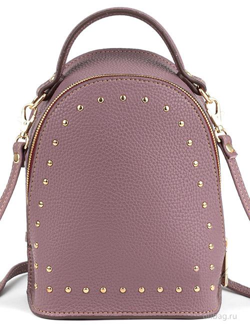 Сумка-рюкзак женская V133-004-1-10 экокожа с заклепками марсала