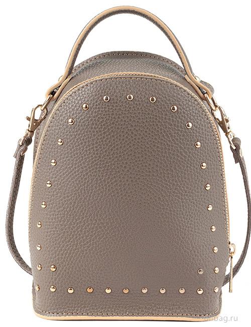 Сумка-рюкзак женская V133-004-1-13 экокожа с заклепками темно-бежевая