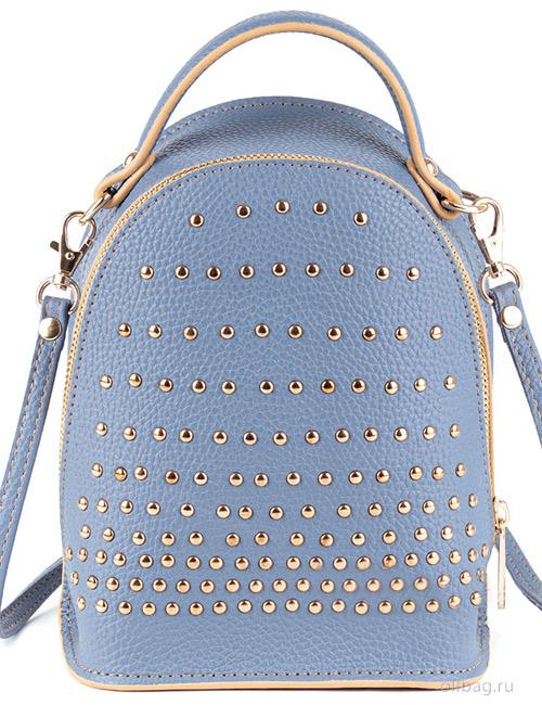 Сумка-рюкзак женская V133-004-3-15 экокожа с заклепками голубая